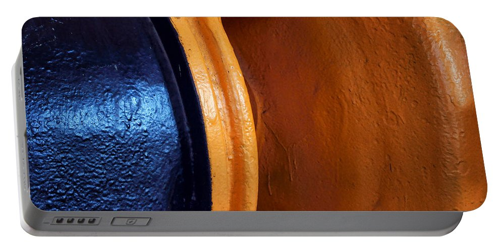 Blue Portable Battery Charger featuring the photograph Hear No Evil - Industrial Abstract by Nikolyn McDonald