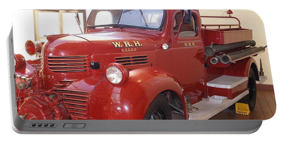 Hearst Fire Truck Portable Battery Charger featuring the photograph Hearst Fire Truck by Barbara Snyder