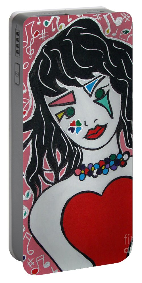 Pop-art Portable Battery Charger featuring the painting Heart Bit by Silvana Abel