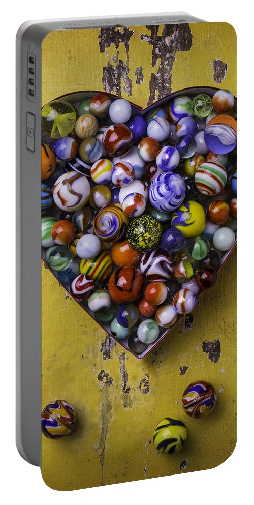 Marbles Portable Battery Charger featuring the photograph Heart Box Full Of Marbles by Garry Gay