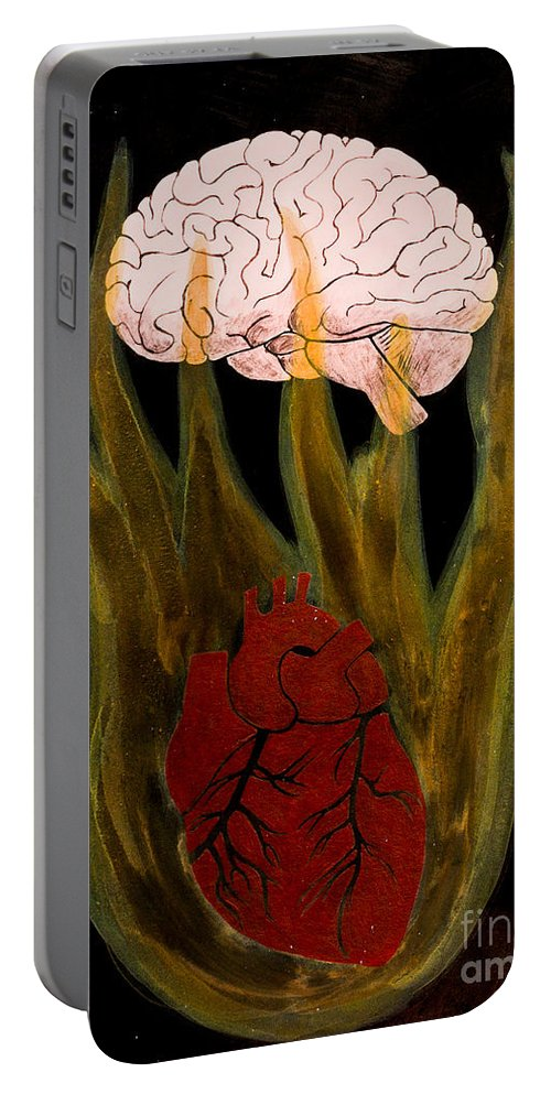 Portable Battery Charger featuring the painting Heart Cooks Brain by Stefanie Forck
