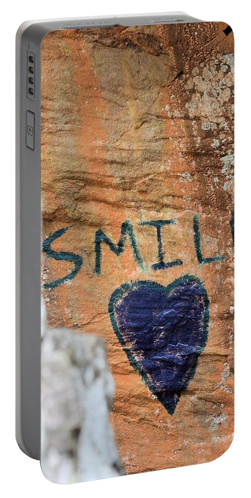 Heart In Sandstone Mountain Portable Battery Charger featuring the photograph Heart In Sandstone Mountain by Maria Urso