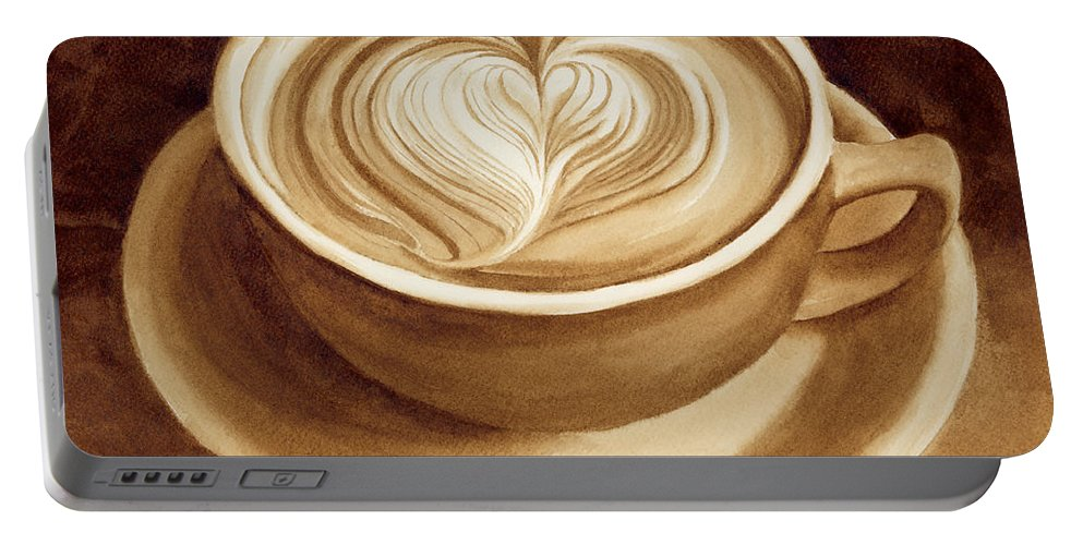 Coffee Art Portable Battery Charger featuring the painting Heart Latte II by Hailey E Herrera