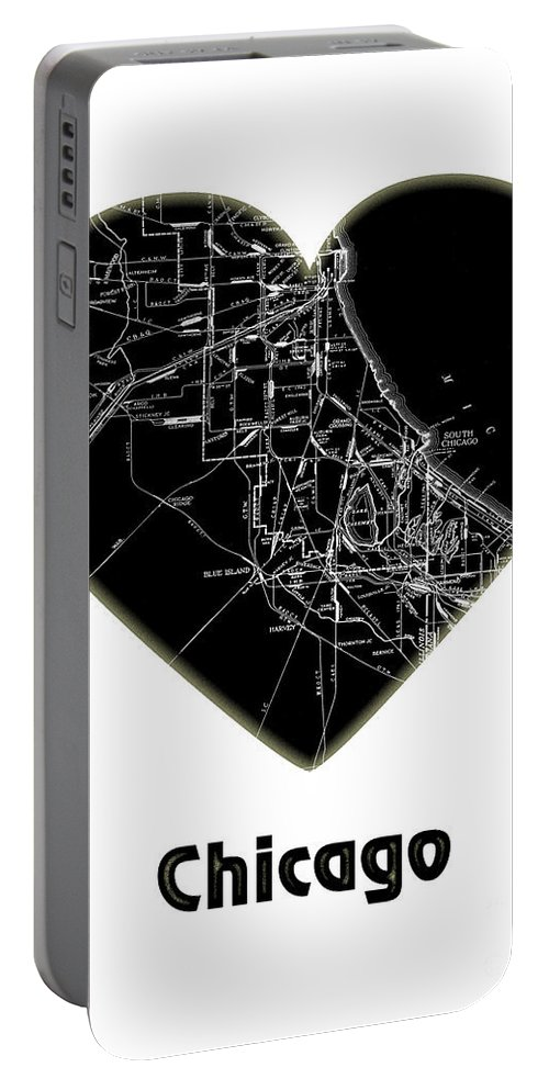 Chicago Portable Battery Charger featuring the digital art Heart Map Chicago by Voros Edit