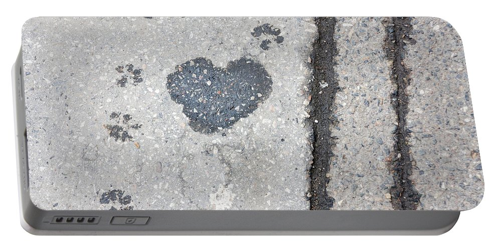 Abstract Portable Battery Charger featuring the photograph Heart On Sidewalk by Michal Boubin