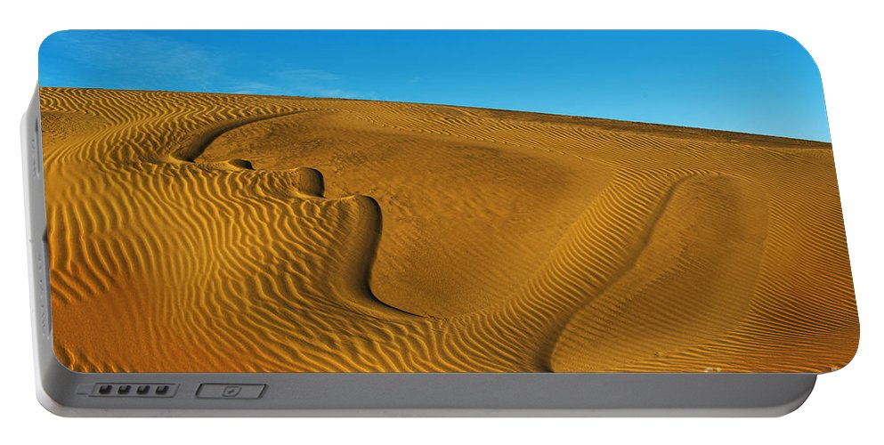 Heart On The Sand Portable Battery Charger featuring the photograph Heart In The Sand Dunes by Yefim Bam