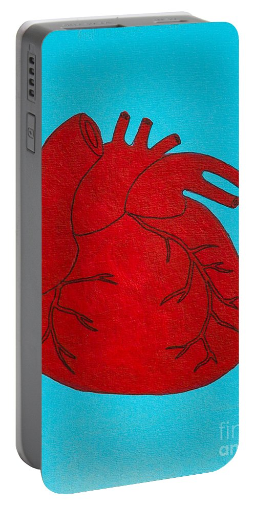 Portable Battery Charger featuring the painting Heart Red by Stefanie Forck