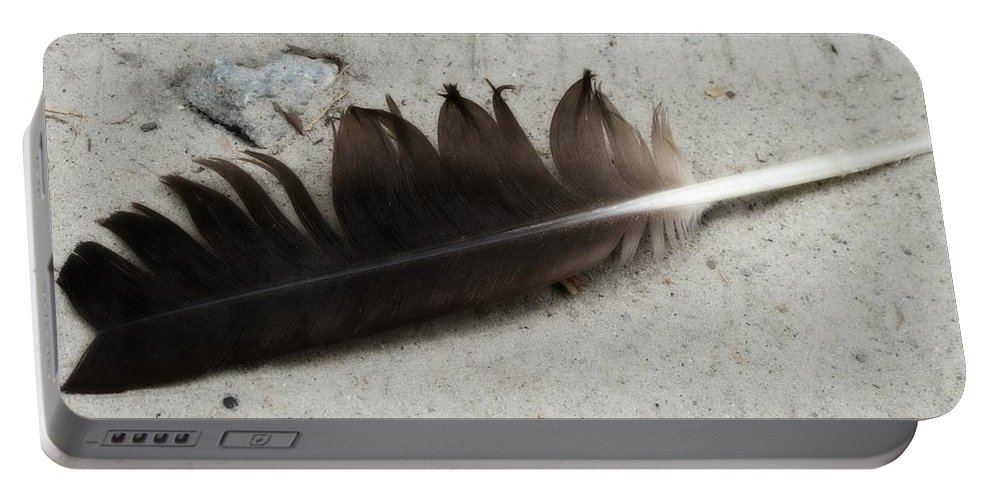Goose Feather Portable Battery Charger featuring the photograph Heart Rock And Feather by Michele Nelson