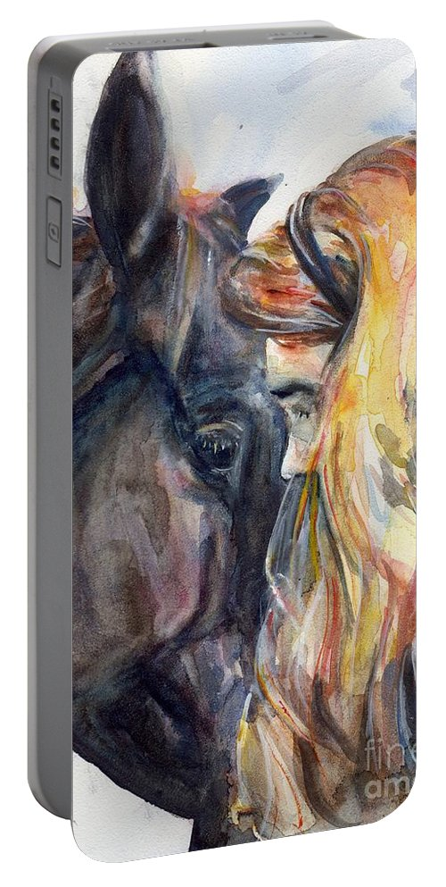 Black Horse Portable Battery Charger featuring the painting Heart To Heart by Maria's Watercolor