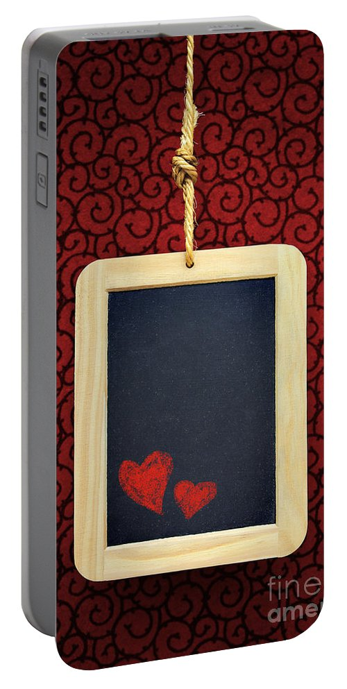 Chalkboard Portable Battery Charger featuring the photograph Hearts In Slate by Carlos Caetano