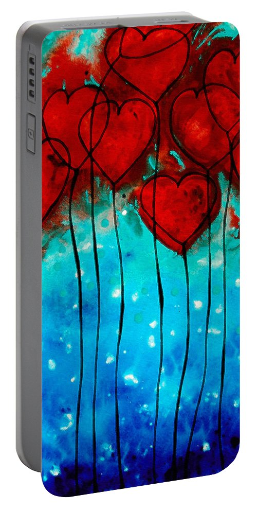 Red Portable Battery Charger featuring the painting Hearts On Fire - Romantic Art By Sharon Cummings by Sharon Cummings