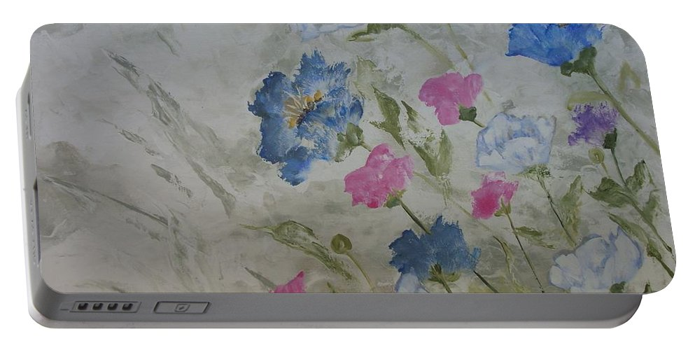 Textured In Color Portable Battery Charger featuring the painting Heaven And Earth A by Julie Cranfill