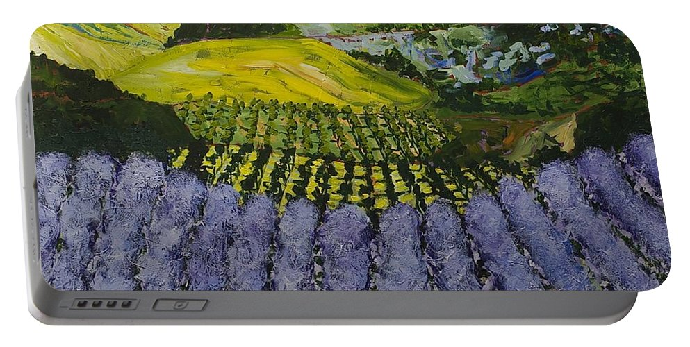Landscape Portable Battery Charger featuring the painting Heavenly Valley by Allan P Friedlander