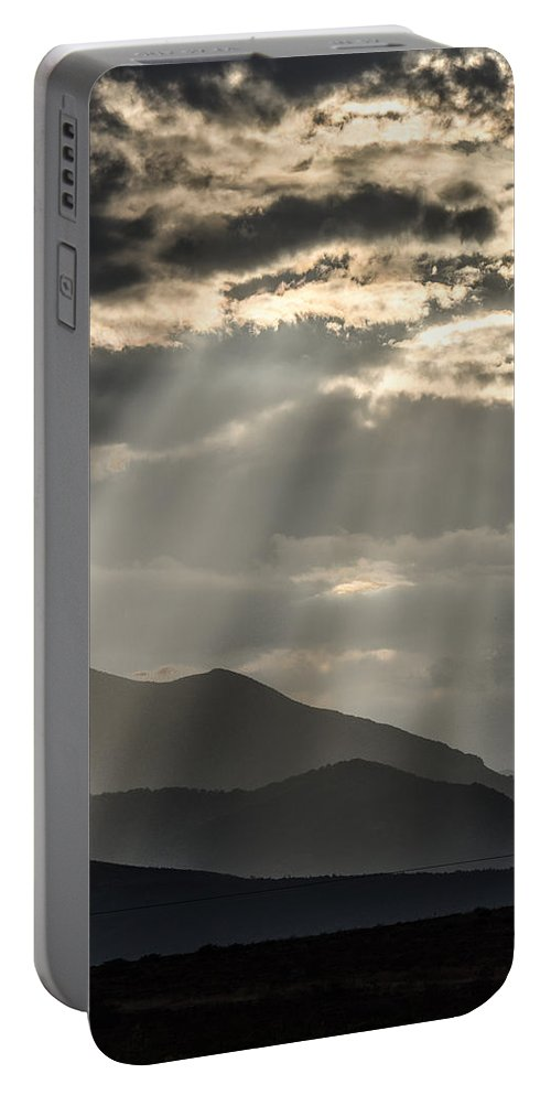 Spring Portable Battery Charger featuring the photograph Heaven's Sunshines by Sotiris Filippou