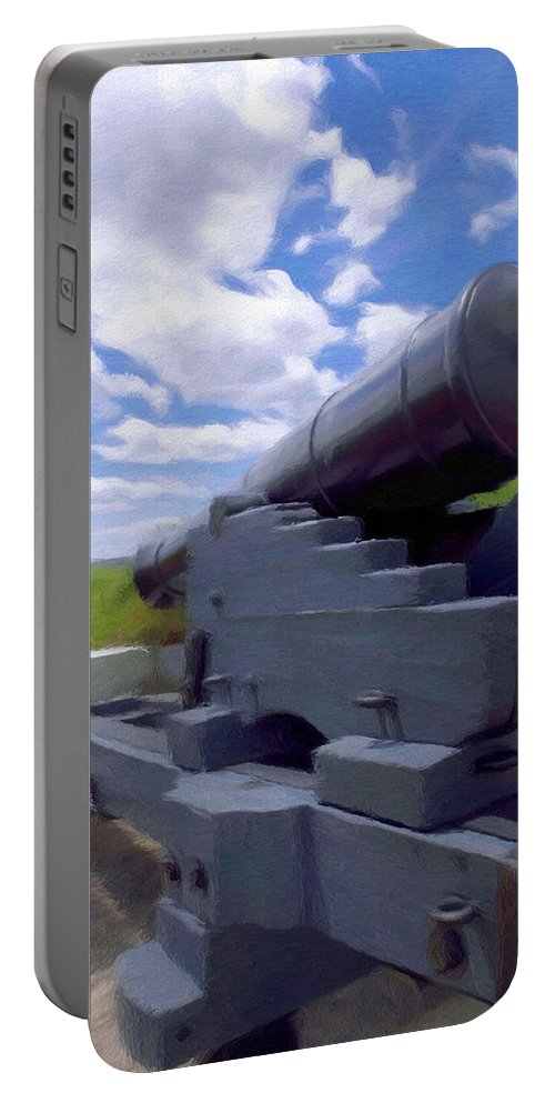 Canadian Portable Battery Charger featuring the painting Heavy Artillery by Jeffrey Kolker