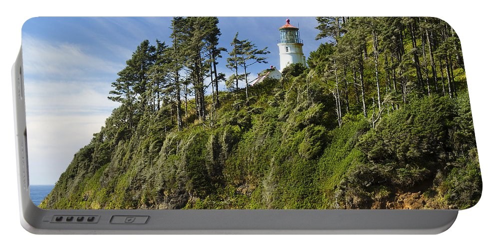 Heceta Portable Battery Charger featuring the photograph Heceta Head Lighthouse 1 A by John Brueske