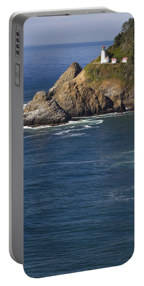 Heceta Portable Battery Charger featuring the photograph Heceta Head Lighthouse 2 D by John Brueske