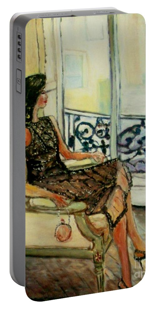 Figurative Portable Battery Charger featuring the painting Heddy by Helena Bebirian