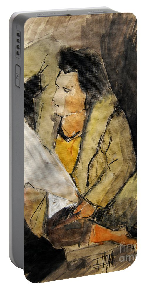 Live Model Study Portable Battery Charger featuring the painting Helene #12 - Figure Series by Mona Edulesco