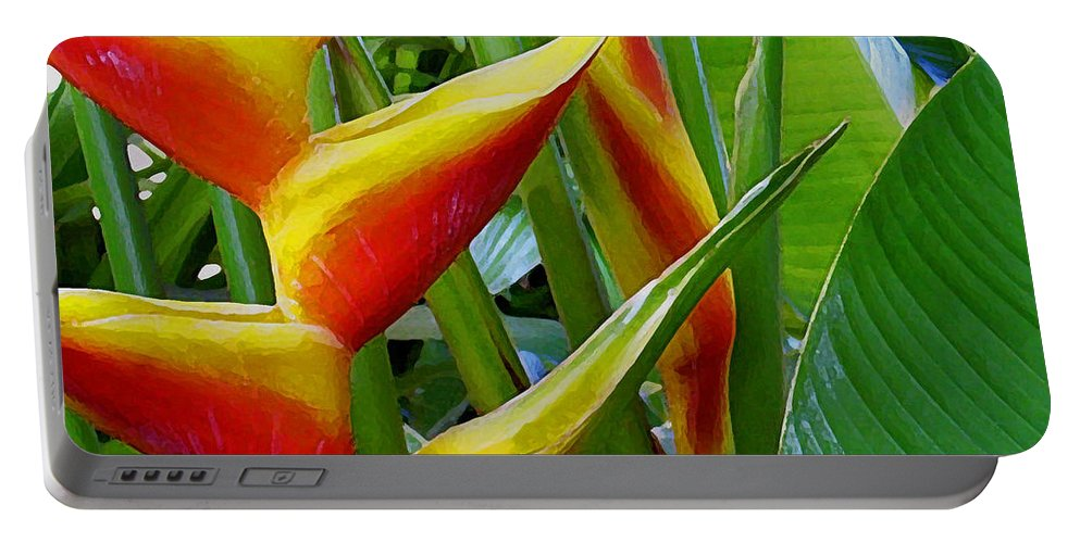 Heliconia Portable Battery Charger featuring the photograph Heliconia Bihai Kamehameha by James Temple