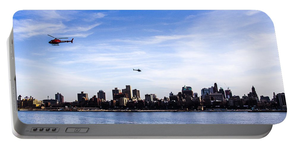 New York City Portable Battery Charger featuring the photograph Helicopter Tour Of Nyc by Angus Hooper Iii