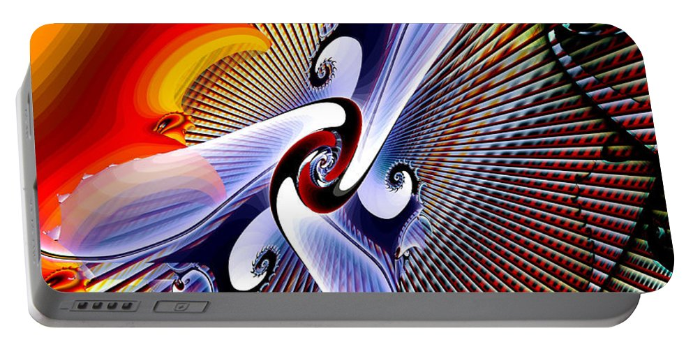 Helios Portable Battery Charger featuring the digital art Helios by Kimberly Hansen