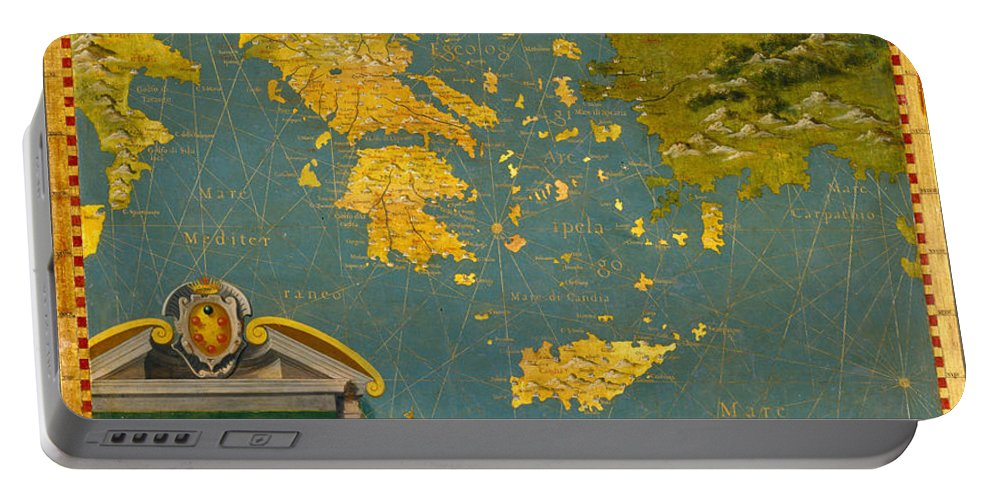 Stefano Bonsignori Portable Battery Charger featuring the painting Hellenic Peninsula Greece Albania Bosnia And Bulgaria by Stefano Bonsignori