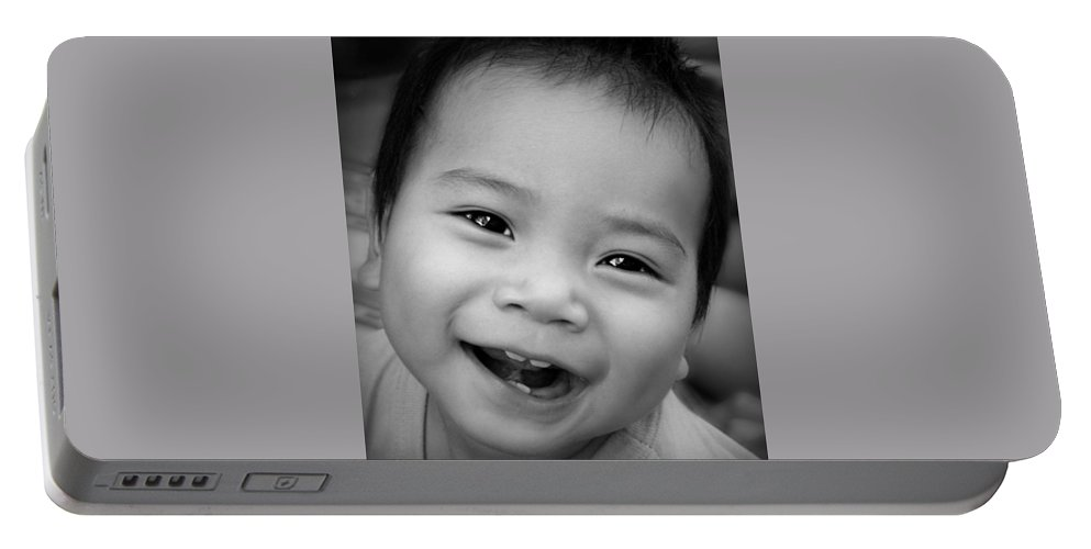Child Portable Battery Charger featuring the photograph Hello Dad by Ian Gledhill