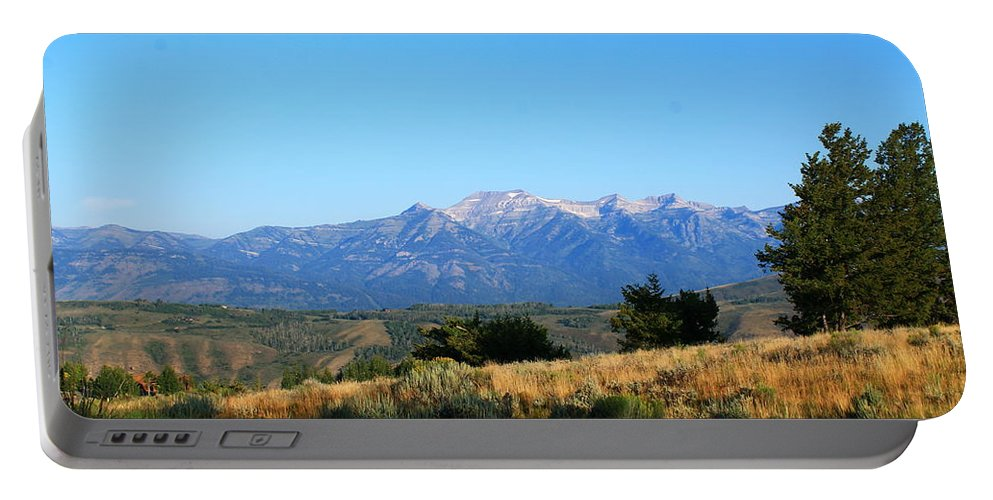 Grand Teton Mountains Portable Battery Charger featuring the photograph Hello Tetons by Catie Canetti