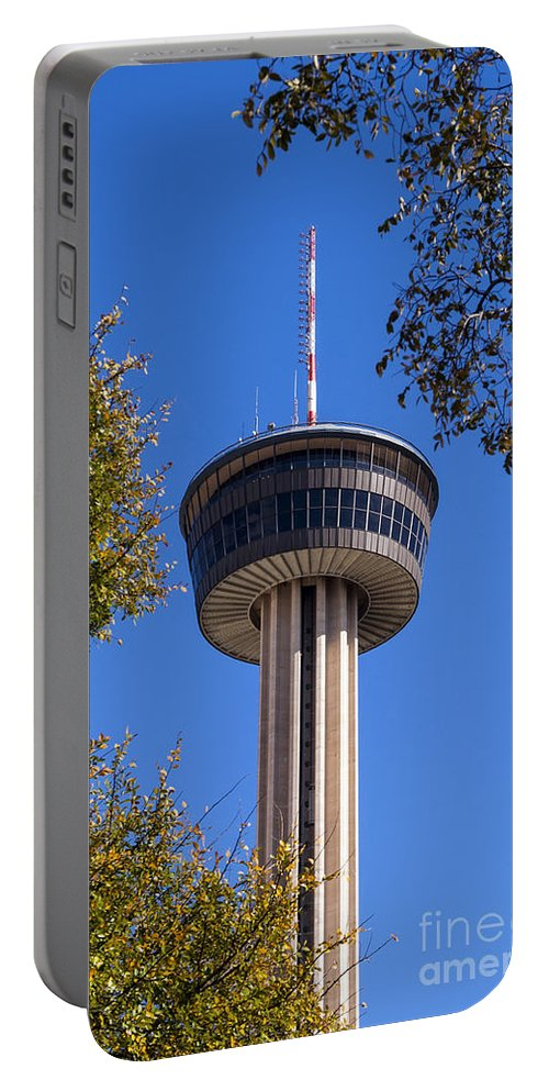 Tower Of The Americas San Antonio Texas Towers Hemisfair Park Parks Tree Trees Structure Structures Architecture Portable Battery Charger featuring the photograph Hemisfair Park Tower by Bob Phillips