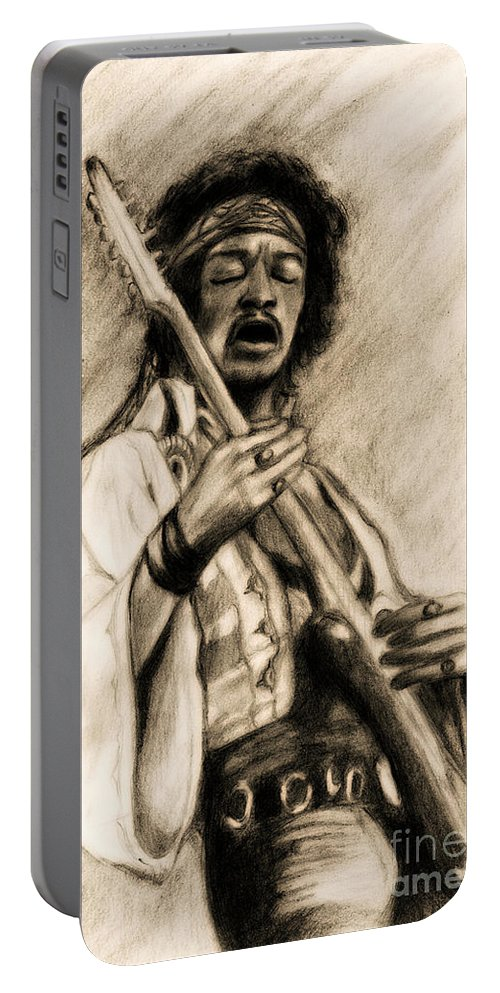 Hendrix Portable Battery Charger featuring the drawing Hendrix-antique Tint Version by Roz Abellera