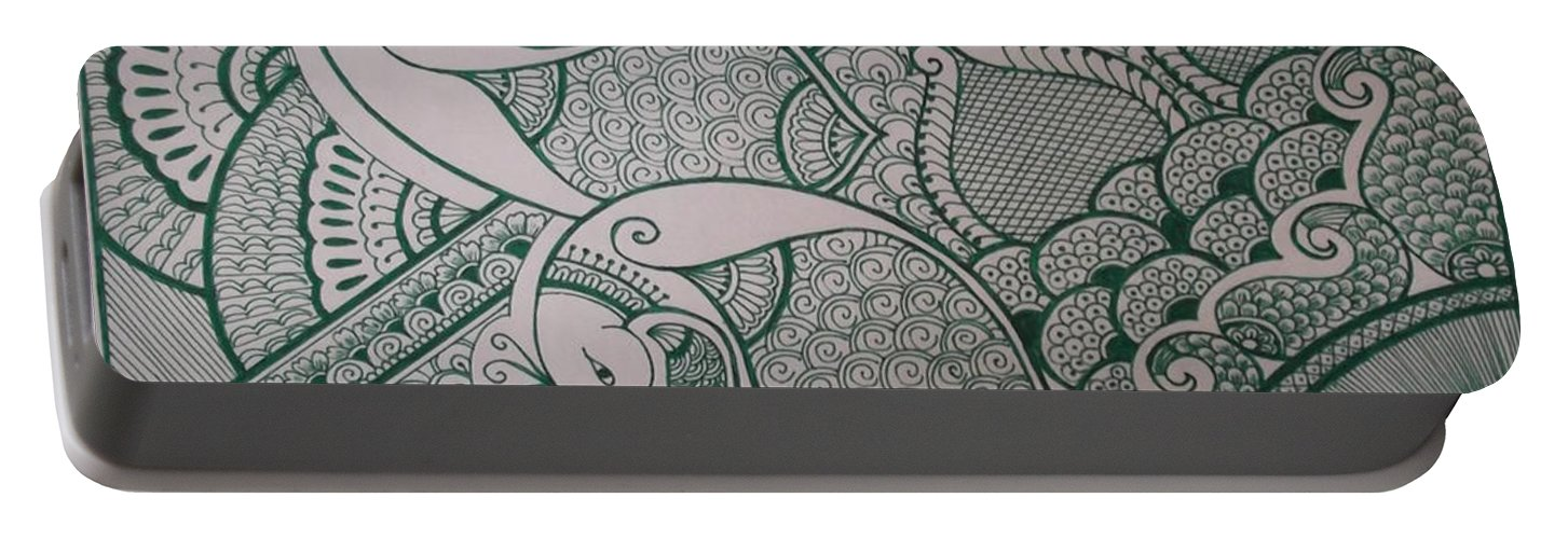 Design Portable Battery Charger featuring the painting Henna by M Ande