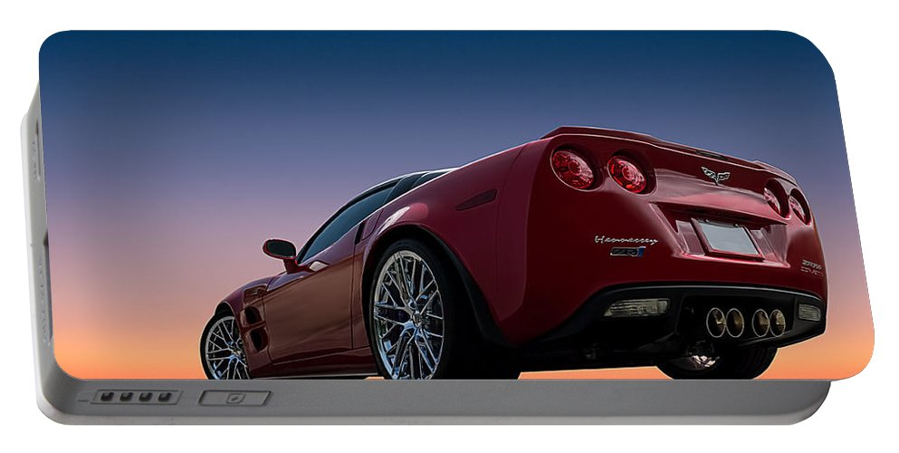 Corvette Portable Battery Charger featuring the digital art Hennessey Red by Douglas Pittman