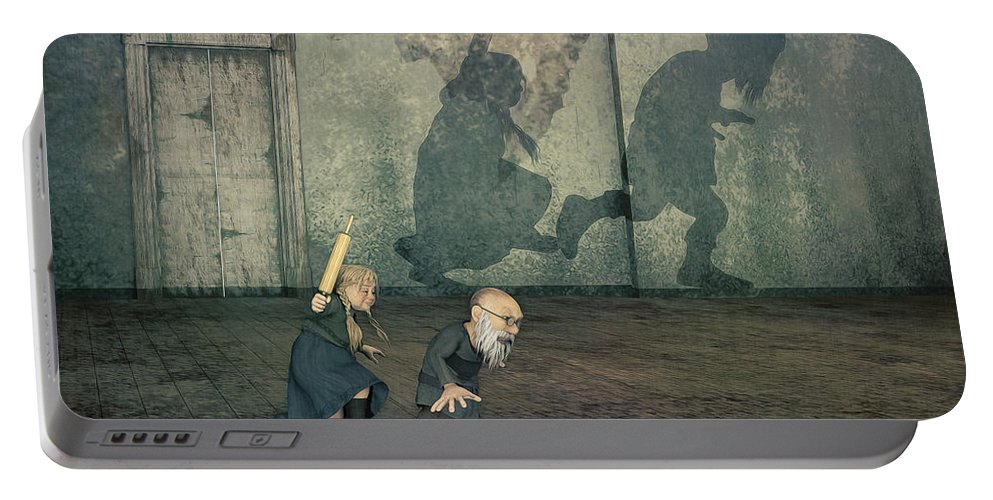 3d Portable Battery Charger featuring the digital art Henpecked Husband by Jutta Maria Pusl
