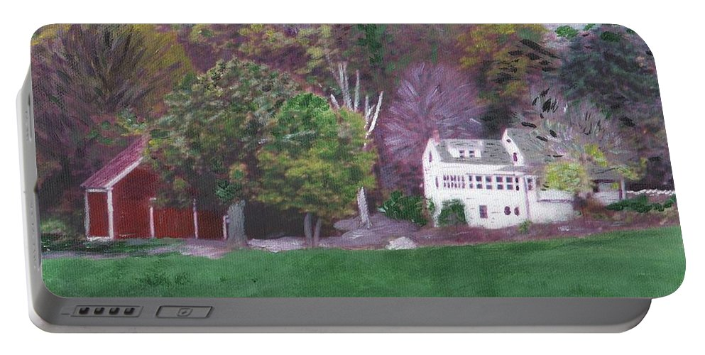 Scenic Portable Battery Charger featuring the painting Henry Warren's Red Barn by Cliff Wilson