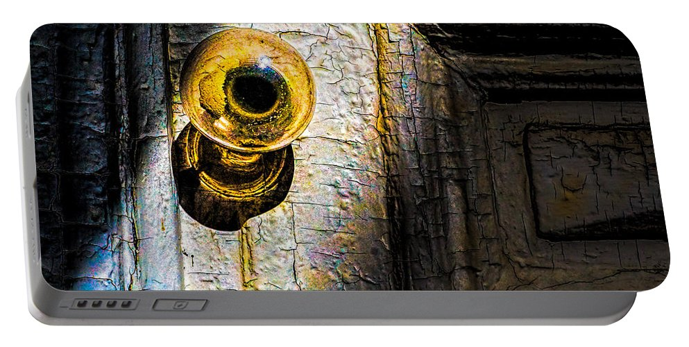 Abstract Portable Battery Charger featuring the photograph Her Glass Doorknob by Bob Orsillo