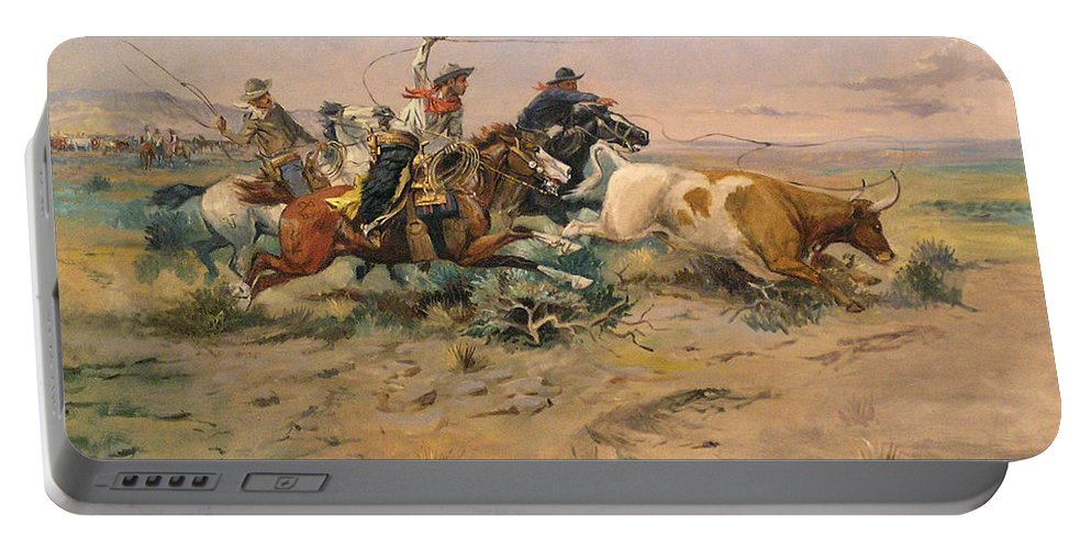 Charles Russell Portable Battery Charger featuring the digital art Herd Quit by Charles Russell