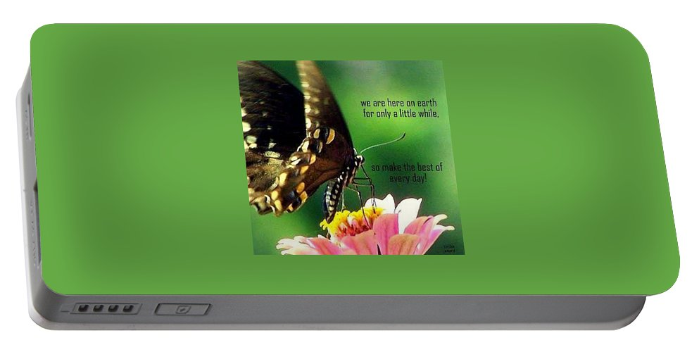 Butterfly Portable Battery Charger featuring the photograph Here Only A Little While by Cynthia Amaral