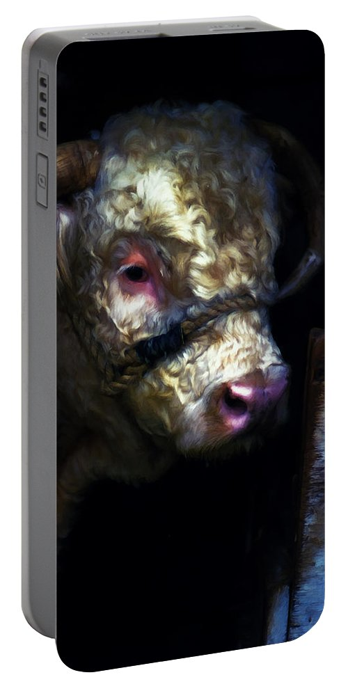 Bull Portable Battery Charger featuring the digital art Hereford Bull 2 by Cathy Anderson