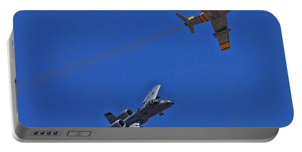 Usaf Heritage Flight Portable Battery Charger featuring the photograph Heritage Flight A-10 F-86 by Tommy Anderson