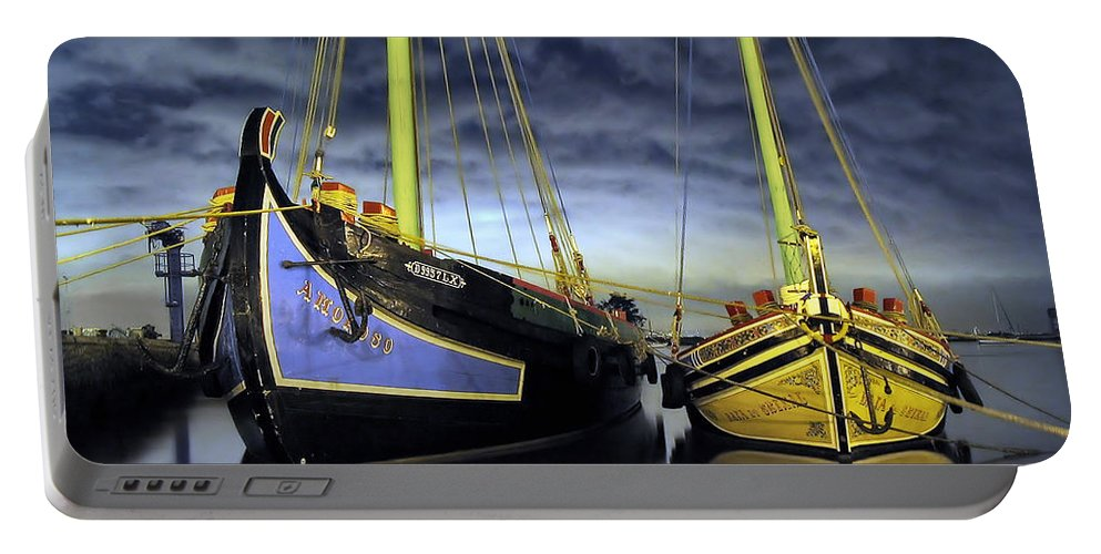 Sailboat Portable Battery Charger featuring the photograph Heritage In Mirrored Water by Jose Elias - Sofia Pereira