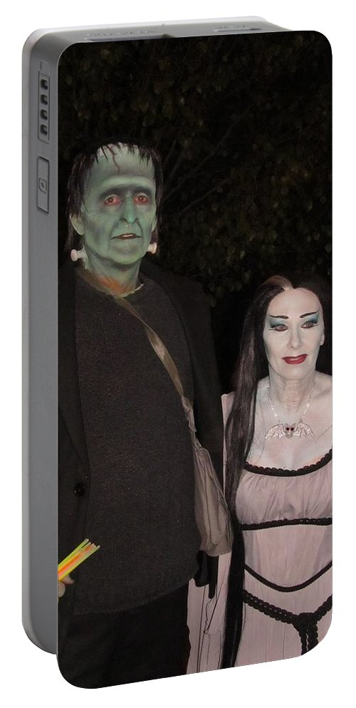 The Munsters Portable Battery Charger featuring the photograph Herman And Lilly Munster by Donna Wilson