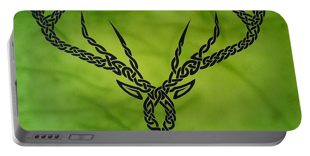 Celtic Knotwork Antlers Green Forest Antlers Deer Hunter Hunting Trees Branches Nature Cernunnos Portable Battery Charger featuring the painting Herne by Guy Pettingell