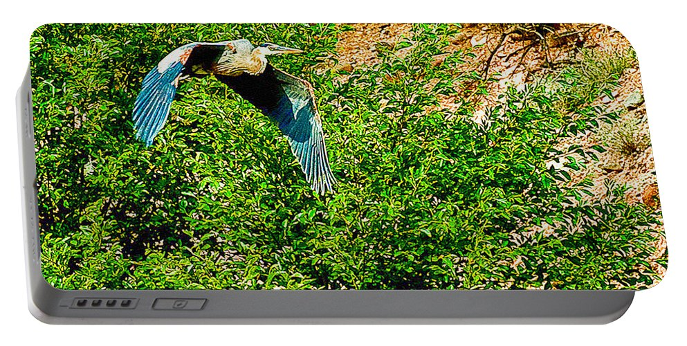 Heron Portable Battery Charger featuring the photograph Heron Flies Over Oak Creek In Red Rock State Park Sedona Arizona by Bob and Nadine Johnston