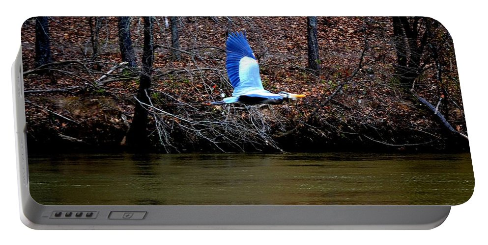 Heron Portable Battery Charger featuring the photograph Heron In Flight by Tara Potts