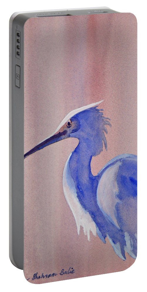 Nature Portable Battery Charger featuring the painting Heron by Shirin Shahram Badie