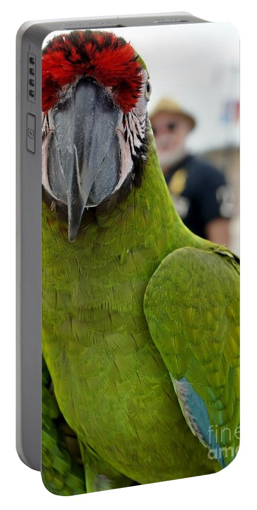 Parrot Portable Battery Charger featuring the photograph He's Behind Me Isn't He? by Lilliana Mendez