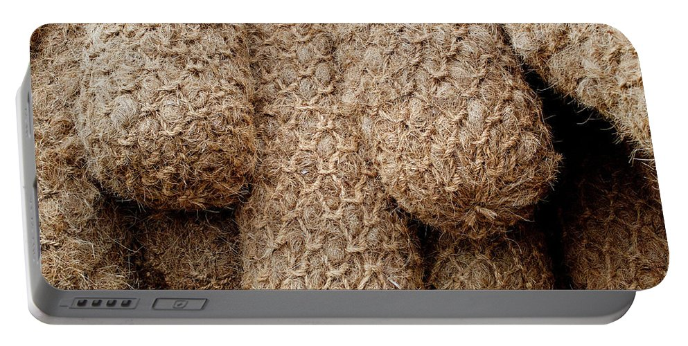 Rope Portable Battery Charger featuring the photograph Hessian Boat Bumpers by Tikvah's Hope