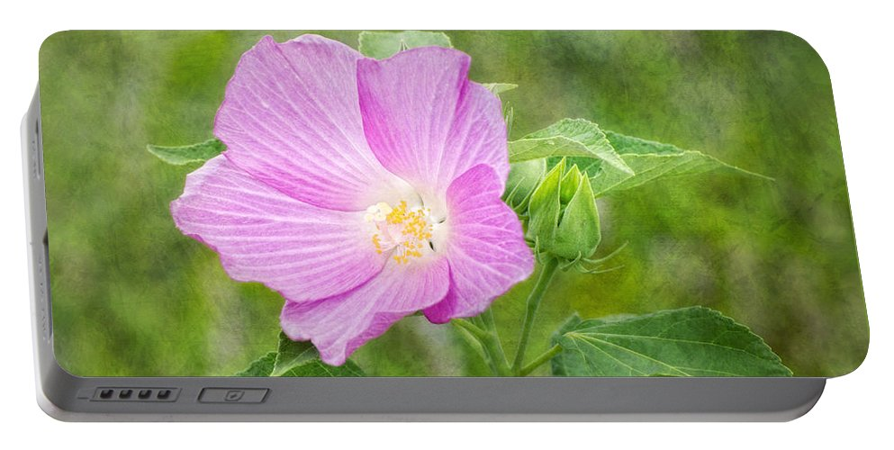 Pink Portable Battery Charger featuring the digital art Hibiscus by Claudia Kuhn