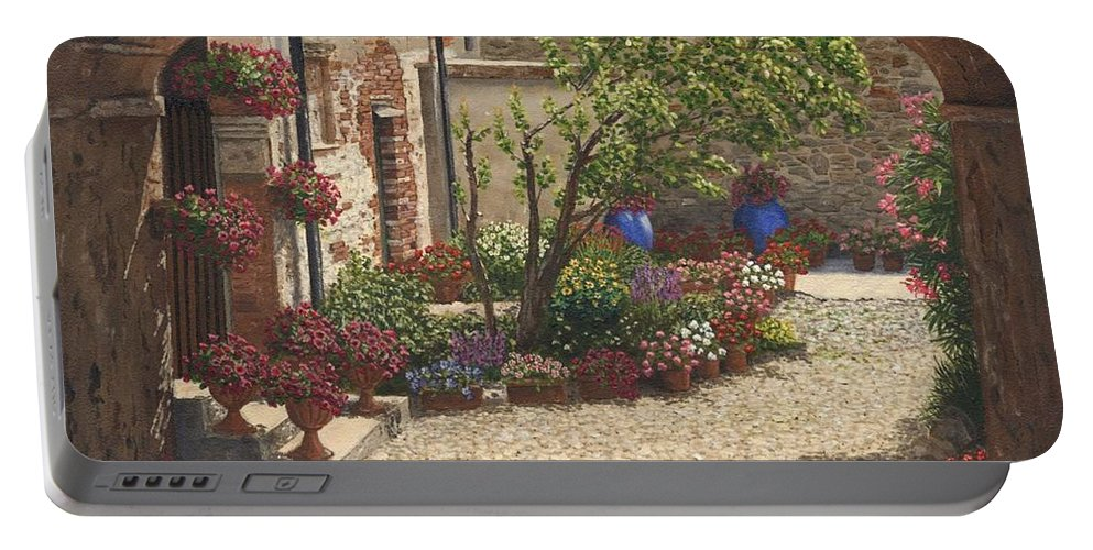 Landscape Portable Battery Charger featuring the painting Hidden Garden Villa Di Camigliano Tuscany by Richard Harpum